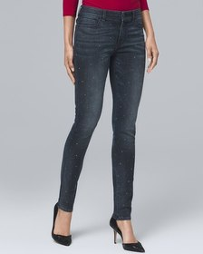 Mid-Rise Stud-Front Skinny Ankle Jeans