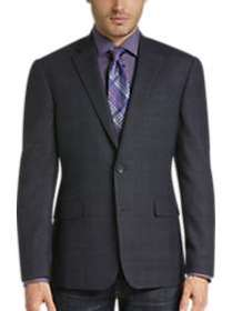 Awearness Kenneth Cole Navy Plaid Slim Fit Sport C