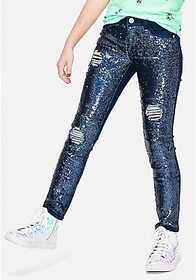 Sequin Destructed Jeggings