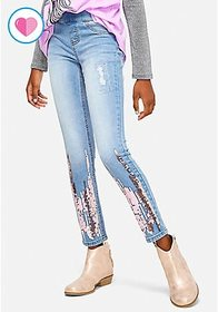 Flip Sequin Pull On Jean Leggings