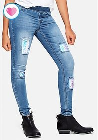 Flip Sequin Pull On Jean Legging