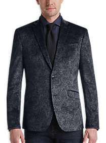 Awearness Kenneth Cole Gray Paisley Slim Fit Velve