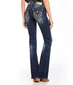 Miss Me Wing Flap Pocket Highlight Washed Bootcut