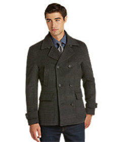 1905 Collection Traditional Fit Plaid Peacoat - Bi
