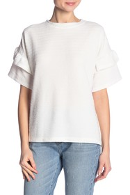 French Connection Sudan Marled Ruffle Sleeve Top