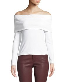 Club Monaco Tabbie Off-Shoulder Long-Sleeve Top
