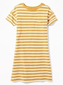 Striped Crew-Neck Tee Dress for Girls
