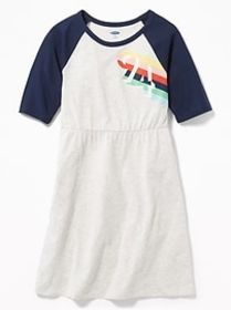 Graphic Raglan-Sleeve Fit & Flare Dress for Girls