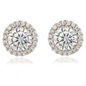Womens Plated Round Halo Cubic Zirconia Stud Earri