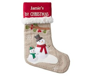 Personalized Baby's First Snowman Woodland Stockin