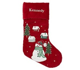 Snowman with House Luxe Velvet Stocking