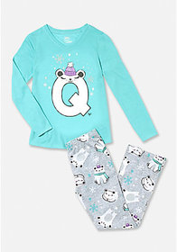 Polar Bear Initial Pajama Set