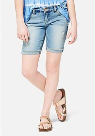 Light Wash Destructed Denim Bermuda Shorts