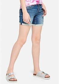 Roll Cuff Denim Midi Shorts