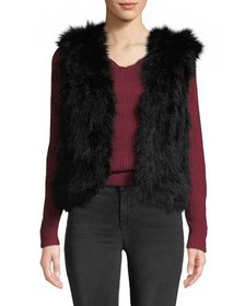 Club Monaco Violet Marabou Feather Vest