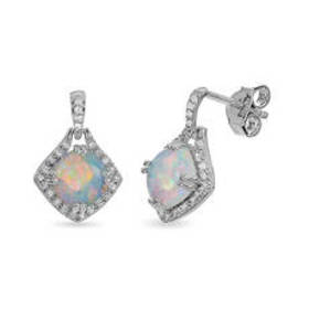 Womens Sterling Silver, Created Opal & White Topaz