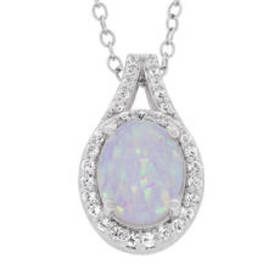 Womens Created Opal & White Topaz Halo Pendant Nec