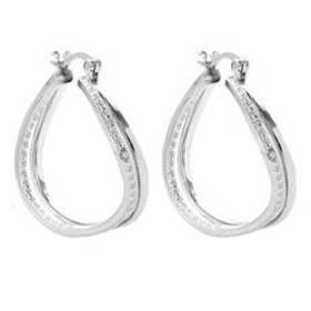 Womens Silver Plated 18kt. Diamond Accent Hoop Ear