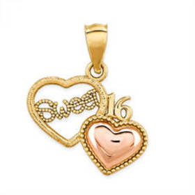 Womens 14kt. Yellow & Rose Gold Sweet 16 Heart Pen