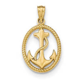 Gold Classics™ 14k. Oval Anchor & Rope Pendant