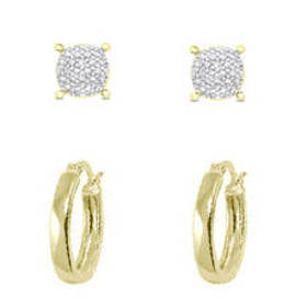 Womens Gold Plated Diamond Accent Stud & Hoop Earr