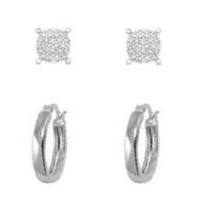 Womens Silver Plated Diamond Accent Stud & Hoop Ea