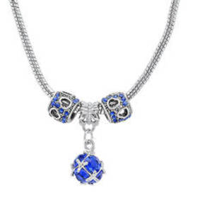 Womens Simulated Blue Diamond Charm Necklace