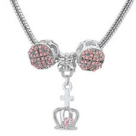 Womens Simulated Pink Diamond Crown Charm Necklace