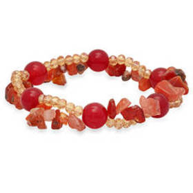 Womens Red Agate & Crystal Beaded Stretch Bracelet