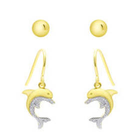 Womens Gold Plated Dolphin & Ball Stud Earrings Se