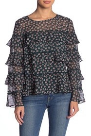 1.State Ditsy Tiered Ruffle Top