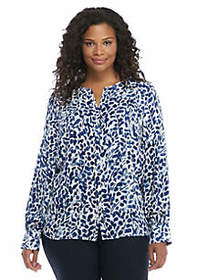 Plus Size Puff Sleeve Crepe Blouse