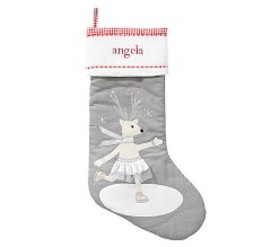 Deer Ice Skater Quilted Stocking