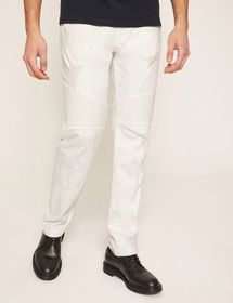 MOTO-FIT WHITE JEAN WITH DISTRESSING