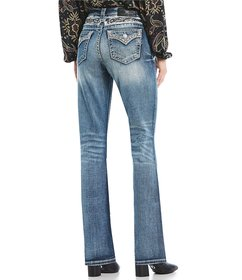 Miss Me Winged-Embroidered-Yoke Bootcut Jeans