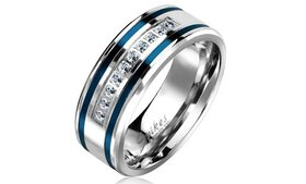 10 Lined CZ with 2 Blue IP Grooved Stripes Stainle