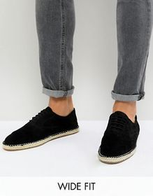 Frank Wright Wide Fit Lace Up Espadrilles In Black