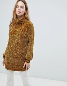 QED London Chunky Cable Knit Sweater With Roll Nec