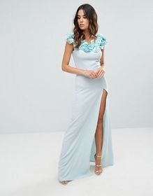 Club L Crepe Detail Maxi Dress With Floral Corsage
