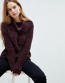 QED London Ribbed Chunky Roll Neck Sweater