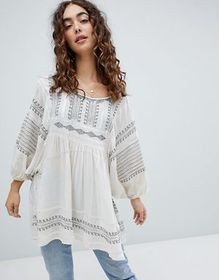 Free People Wild One embroidered smock top