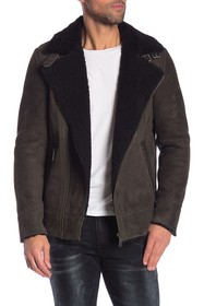 Scotch & Soda Leather Faux Shearling Lined Jacket