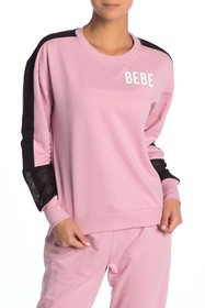 bebe Mesh Sleeve Cropped Pullover
