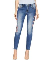 Miss Me Embroidered Mid-Rise Skinny Jeans in Mediu