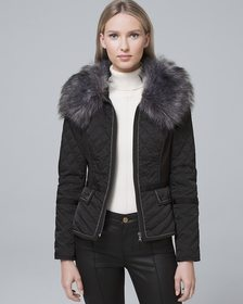 Removable Faux Fur Trim-Collar Quilted Puffer Jack