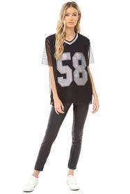 58 Graphic Mesh Jersey Top