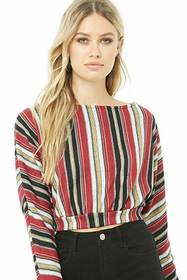 Striped Brushed Knit Crop Top