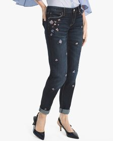 Floral-Embroidered Girlfriend Jeans