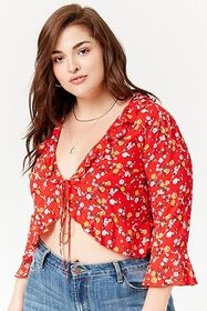 Plus Size Floral Ruffle Top