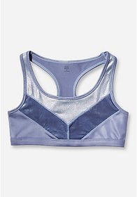 Velour & Foil Racerback Sports Bra
